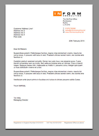 letter headed design